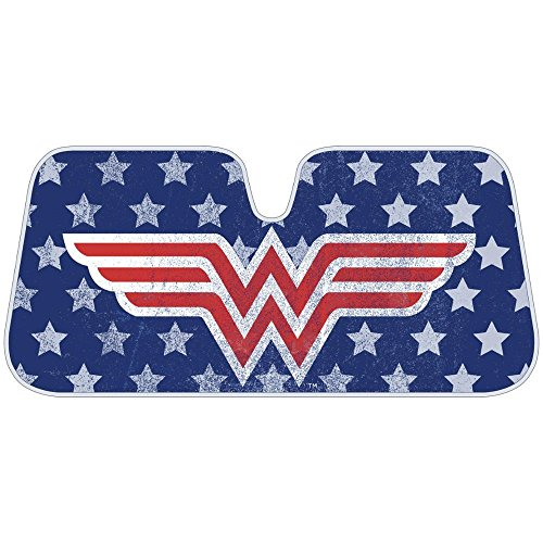 Infinity Stock Wonder Women Auto Sun Shade Universal Size Fit 58″ x 27″ – Windshield Car Truck SUV Sunshade – Interior Accessories – (Vintage)