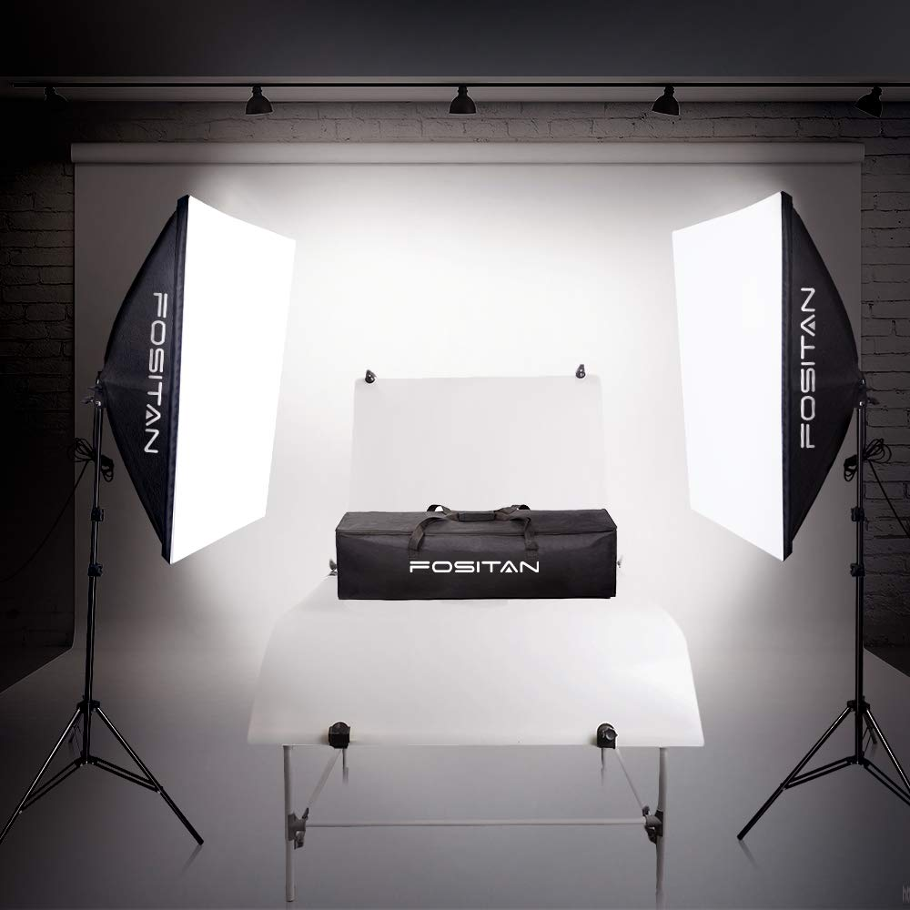 FOSITAN 20x28 Softbox Photography Lighting Kit with 2m Adjustable Stand 800W Continuous Lighting System Photo Studio Equipment for Model Portraits with 2pcs 85W Bulbs