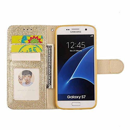 Conception Fermeture Noir magnétique Portefeuille Or Pour Bling Coque Galaxy amour S7 Cuir Étui Samsung Retourner stand Luxe Diamant 1U8HBqwYf