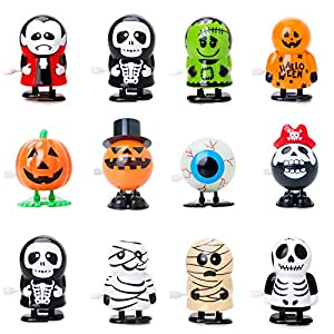 Best Epic Trends 51jSE3v0QLL._SS300_ Bravo Sport 12 Pack Halloween Wind Up Toys, Assorted Novelty Jumping and Walking Clockwork Toys, Halloween Party Favors…