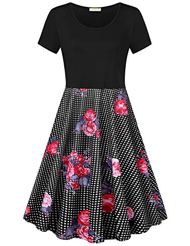 Baikea Grid Print Dress, Women Short Sleeve Round Neck A Line Summer Tunic Knitted Loose Fit Office Midi Dresses Stretchable Breathable Daily Wear Shirt Space Dye Black XL