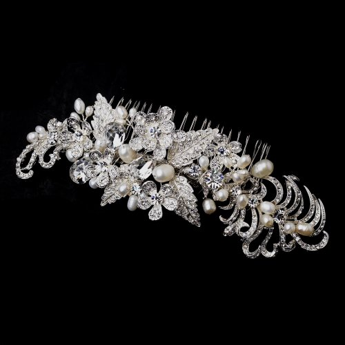 Kayla Silver and Freshwater Pearl Hair Side Wedding Bridal Occasion Comb by Special Moments LLC