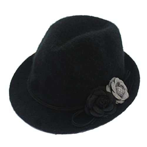 Zhhlinyuan Autumn Invierno Classic Warm Jazz Cap Adult Womens Flowers Decor Wide Brim Felt Hat