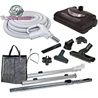 35 Central Vacuum Kit with Hose, Power Head & Wands - Black - Works with all brands of central vacuum units