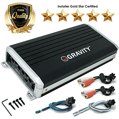 Gravity GBR300-4D True 500-Watt RMS Micro Ultra Compact Digital 4-Channel Full Range Amplifier with RCA Stereo input - Perfect for Motorcycle, RV, ATV, Car, Boat, ()