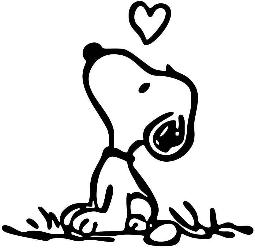"Snoopy Puppy Love - Vinyl 3"" (Color BLACK) decal laptop tablet skateboard car windows stickers"