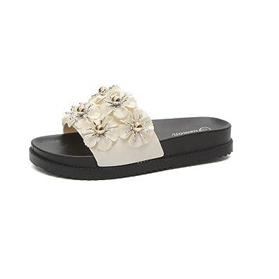 Damen Sommer Dicke Sohlen Sandalen und Hausschuhe, Blume Fashion Strand Clips Flip Flops Anti-Rutsch Sandaletten-A Fußlänge=22.3CM(8.8Inch)