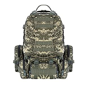 CVLIFE 60L Built-up Military Tactical Army Outdoor Backpacks Assault Combat Rucksack Heavy Bug Out Bag ACU
