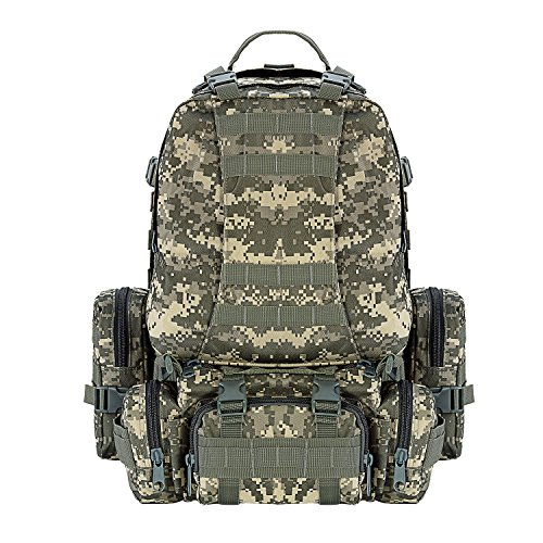 CVLIFE Outdoor 50L Military Rucksacks Tactical Backpack Assault Pack Combat Hiking Backpack ACU