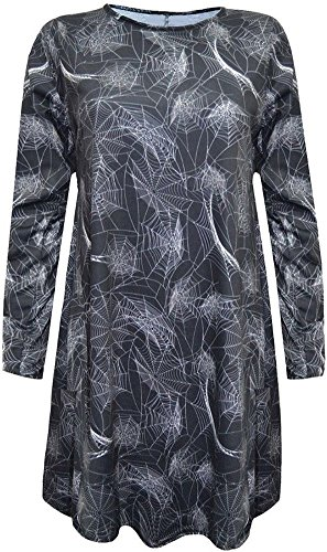 Halloween Pumpkin Dress Longsleeve Women Club Wear Bodycon Swing Mid Scary Costumes Grey M -