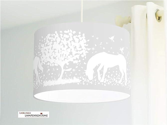 Lampe Kinderzimmer Mädchen mit Pferden in Grau: Amazon.de ...