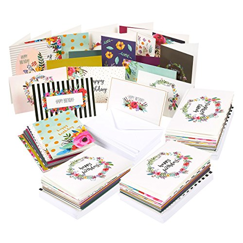 144 Pack Assorted Happy Birthday Greeting Cards - 18 Unique Designs, Happy Birthday Greeting Cards Bulk Box Set Variety Pack with Envelopes Included - 4 x 6 Inches