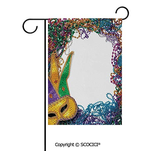 SCOCICI Double Sided Washable Customized Unique 12x18(in) Garden Flag Colorful Framework Design with Beads and Mask Fat Tuesday Holiday Theme Decorative,Multicolor,Flag Pole NOT Included