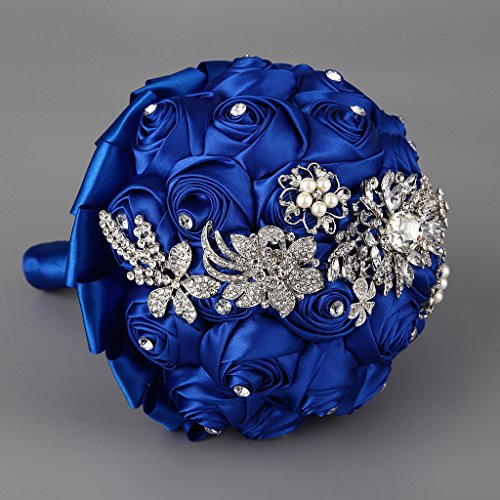 Hand Made Silk Rose Rhinestone Brooch Wedding Bouquets Customization Pearls Bride Holding Flowers - Floral Bouquet Brooch