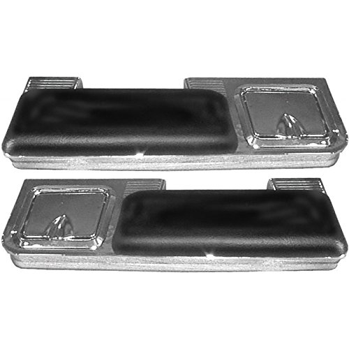 Eckler's Premier Quality Products 50-207763 - Chevelle Armrest Pad & Chrome Base Set, Rear, Black, With Ashtray, 2-Door Coupe