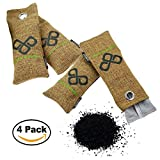 Natural Closet Air Freshener Purifier, Shoe Deodorizer & Car Activated Bamboo Charcoal Moisture Odor Absorber Bags by VITCHELO to Get Rid of Mold Smells — Refrigerator Odor Eliminator (4x75g, Brown)