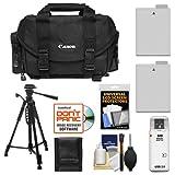 Canon 2400 Digital SLR Camera Case - Gadget Bag + (2) LP-E8 Batteries + Tripod + Accessory Kit for EOS Rebel T2i, T3i, T4i, T5i