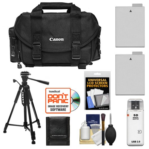 Canon 2400 Digital SLR Camera Case - Gadget Bag + (2) LP-E8 Batteries + Tripod + Accessory Kit for EOS Rebel T2i, T3i, T4i, T5i by Canon