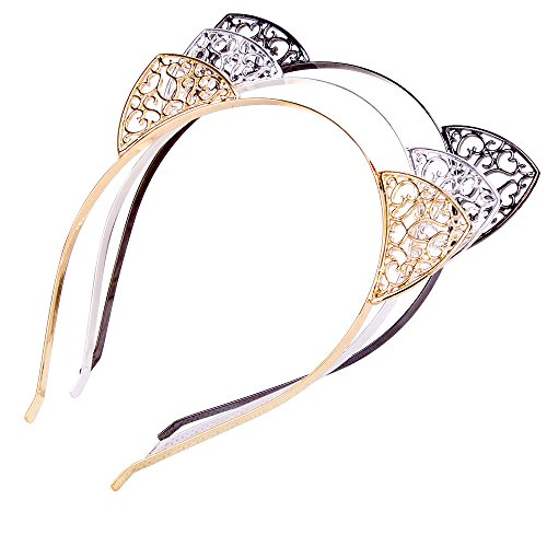 Cat Ears Hair Hoop Headband for Women Girls 3 Pcs Alloy Cats Ears Hairband Headwear Hair Accessories (Decorative pattern) - Sitting Pretty Cat