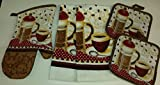 Coffee Themed Kitchen Decor Coffee Theme Kitchen Linen Set (2041) (Includes: one oven mitts, two dish towels, and two pot holders)