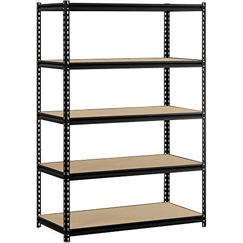 EDSAL URWM184872BK Black Steel Storage Rack, 5 Adjustable Shelves, 4000 lb. Capacity, 72