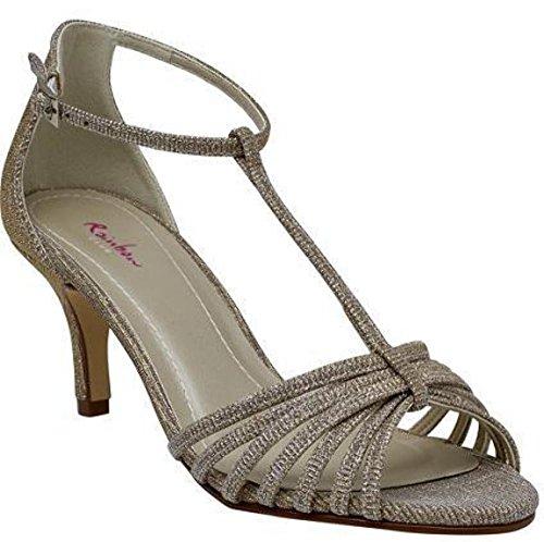 Gold Club Rainbow Creme mujer Ivory Creme vestir Metallic Ivory Satén Zapatos de de Gold para marfil Metallic dPwPprq
