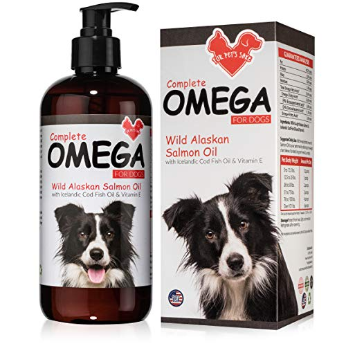 Salmon Oil For Dogs and Cats - Helps Dry Itchy Skin, Shedding, Dandruff & Joint Pain - For Healthy Skin & Soft Shiny Coat - Natural Wild Caught Liquid Fish Oil Supplement With Omega 3 & Vitamin E 32oz