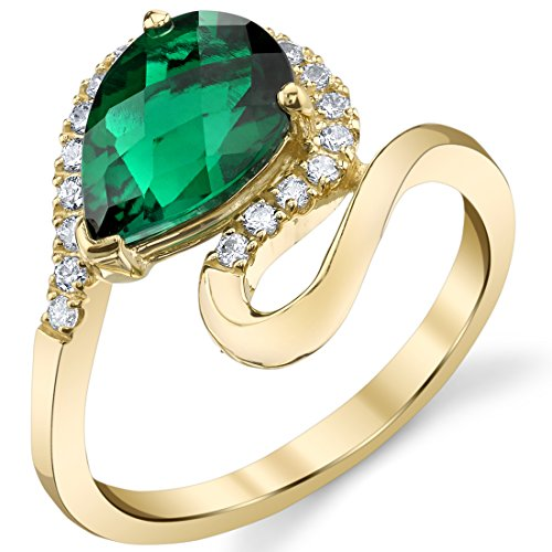 Gold Pear Shaped Lab (Lab-Created Emerald 14K Yellow Gold Pear-Shaped Swirl Ring)