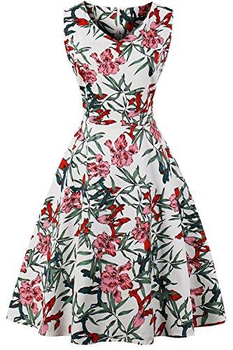 Women's Vintage 50s Retro Rockabilly Sleeveless Midi Dress Floral Cocktail Prom Swing Knee Length Multi Type Dresses S