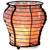 Crystal Allies Natural Himalayan Salt Wire Mesh Basket Vase Lamp with Cord, Light Bulb & Authentic Crystal Allies Info Card - Choose Your Pattern (Vessel)