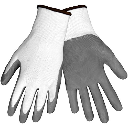 Global Glove 550E Gripster Economy Ultra Light Nitrile Glove with Knit Wrist Liner, Work, Extra Large, Gray/White (Case of 72) by Global Glove