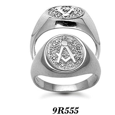 Finest 9 carat White Gold 10pt Diamond Masonic Ring AT/9R555: Amazon