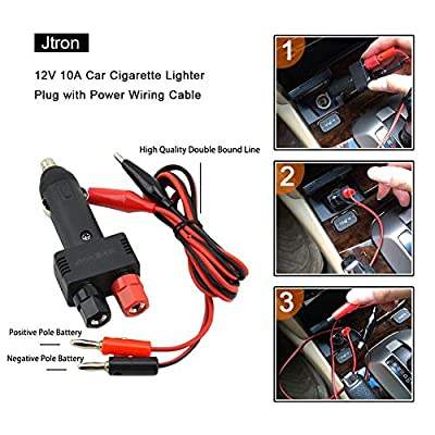 Jtron Dc 12v 10a Car Male Cigarette Lighter Plug with Power Wiring Cable Car to Take Power Black Power Cord for Inverter: Automotive