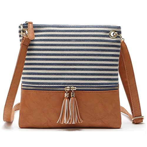 Blue Striped Messenger Bag - Adjustable Striped Canvas Leather Crossbody Shoulder Bag Tassel Double Zipper Messenger Bag Handbag for Women Lady Girls (Blue Stripe)