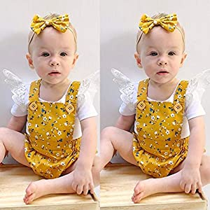 0-2Years,SO-buts Kids Baby Girls Lace Floral Ruffled Romper Suspender Bodysuit Shorts Outfits Set Summer Fashion Clothes
