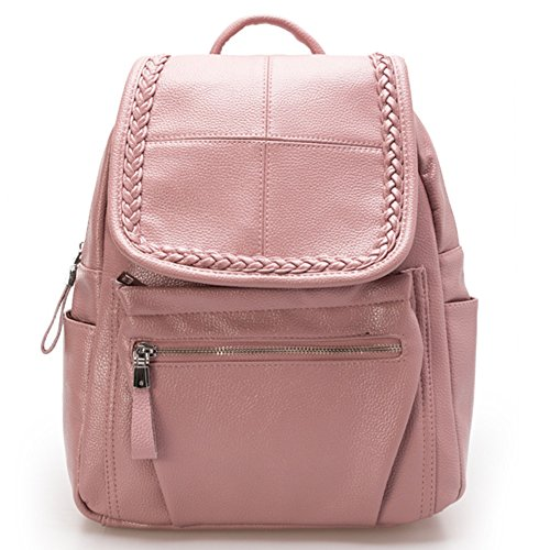 HaloVa Women's Backpack, Multifunctional Fashion Travel Rucksack, Casual Daypack School Bag, Pink