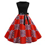Women's Vintage Dress Loose Fourth of July Dress Independence Day Patriotic Elegant Classic Party Swing Dress Size S-2XL (S, Red)