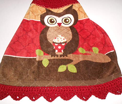 Owl with Cupcake Crochet Topped Hanging Kitchen Towel with Decorative Bottom Trim