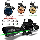 3 in 1 AR15 Rifle Scope 4-12x50EG Dual illuminated Optics with Holographic 4 Reticle Red and Green Dot Sight for 22&11mm Weaver/Picatinny Rail Mount