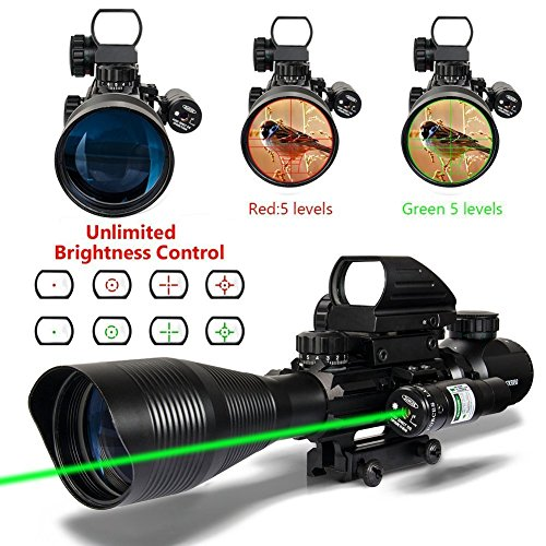 3 in 1 AR15 Rifle Scope 4-12x50EG Dual illuminated Optics with Holographic 4 Reticle Red and Green Dot Sight for 22&11mm Weaver/Picatinny Rail Mount by Furlove
