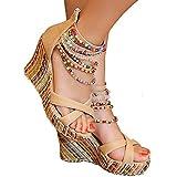 #8: getmorebeauty Women's Wedge Sandals Pearls Across The Top Platform High Heels