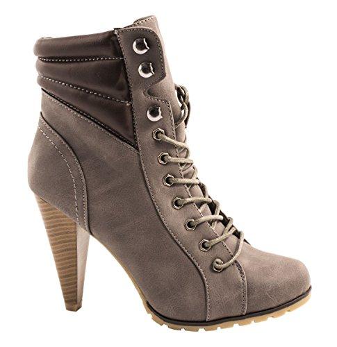 Elara Damen Stiefeletten | Stiefel Trichterabsatz | Lederoptik gris