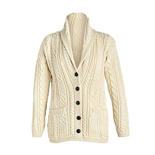 Multi Wool Cable Knit Irish Shawl Cardigan (Medium, ()