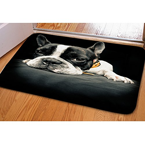 INSTANTARTS Black Boston Terrier Printed Soft Flannel Mats for Bedroom Bathroom Home - Gifts Terrier