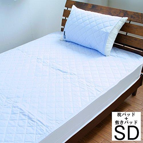 【10色展開】日本製 アウトラストひんやり敷パッド&枕パッド セミダブル ブルー B01I9B3YEA ブルー ブルー