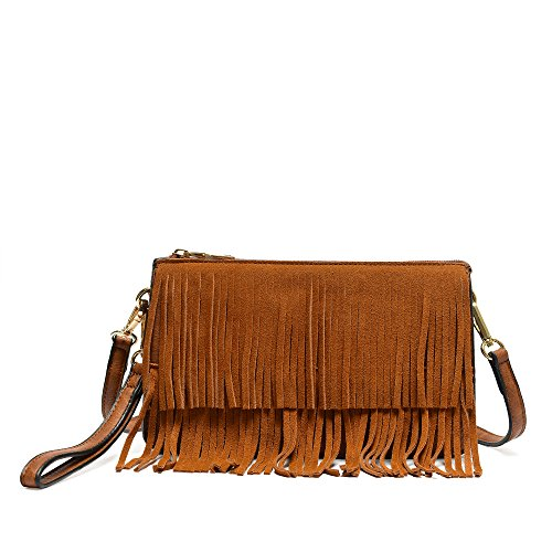 Brown Suede Fringe Crossbody Bag - 4