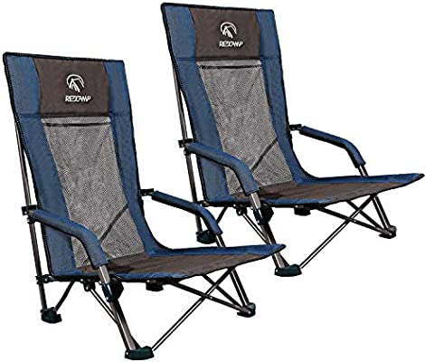Portable Sand Chairs for Adults Outdoor Concerts Sports Events Camping Backpacking REDCAMP Low Beach Chairs Folding Lightweight with Low//High Back and Headrest