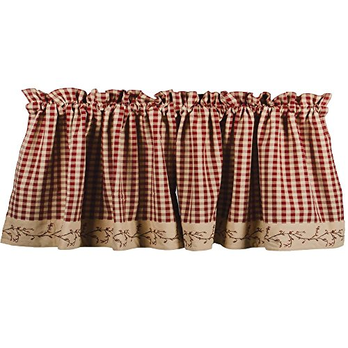 - Primitive Home Decors Berry Vine Check Valance - Barn Red