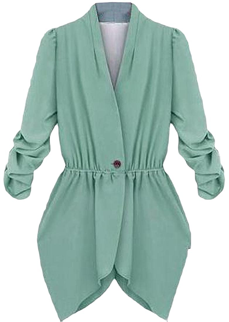 EKU Women's Blazer Jacket Coat Casual Stylish Fitted Suit Coat Cyan M
