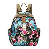 Women Backpack Oxford Casual Enthic Style Printed Covertible Shoulder Bag Lightweight Water Resistant Bags